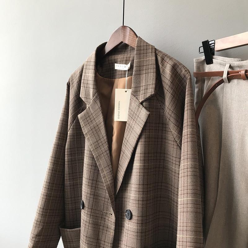2020 Autumn Suits Blazer Jacket Women Checks Pattern Coat Casual Loose Clothes Vintage Classic Tops Female Plaids Suit Blazers