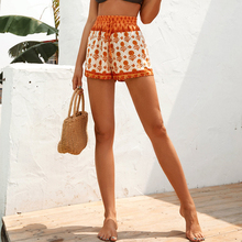 2020 Summer New Flower Printed Shorts Women Fashion Vintage Sunflower Pattern Casual High Waisted Female Shorts white fashion round neck love pattern high waisted dress