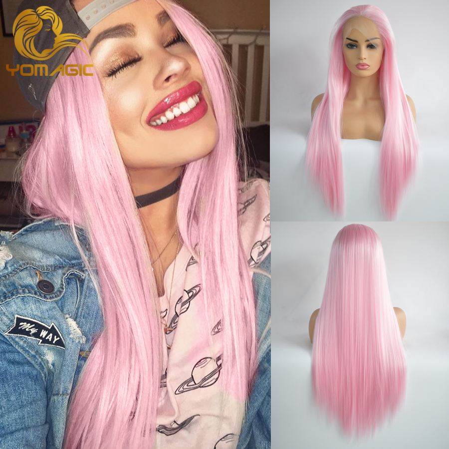 Yomagic Hair Bright Pink Color Synthetic Hair Lace Front Wigs With Natural Hairline Long Straight Cosplay Glueless Lace Wigs