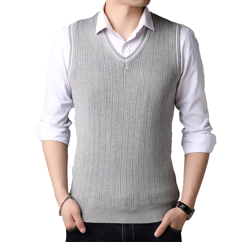 BROWON Brand-sweater Men Clothes Sweater Mens Knitwear Autumn Wear Fashion Sweater V-Neck Sleeveless Sweater Vest For Men