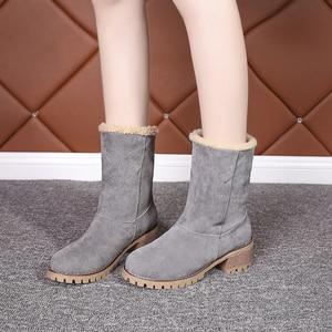Image 5 - 저렴한 판매 2019 겨울 여성 패션 발목 부츠 플록 하이힐 짧은 부츠 숙녀 빅 사이즈 43 여성 Botas 모피 따뜻한 신발