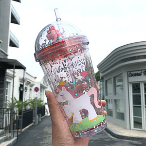 Dream Unicorn Water Bottle Straw Type With Lid 350ml Drinking Bottle Student Water Cup Cute Plastic Female Cartoon Kettle Mug