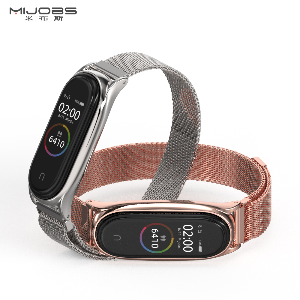 Strap for Xiaomi Mi Band 5 NFC Global Version Metal Wrist Band for Mi Band 4 Bracelet for Mi Band 3 Original Wristband Stainless image
