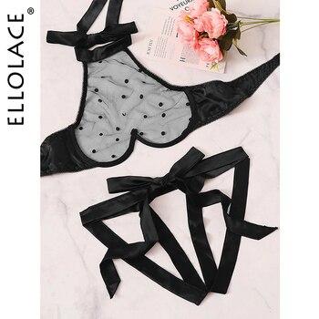 Ellolace Lace Polka Dot Lingerie Set Halter Backless Underwear Set Transparent Women's Underwear Wave Point Sexy Lingerie 2020 polka dot asymmetrical tankini set