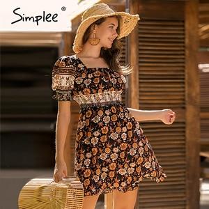 Image 3 - Simplee Blackless floral print dress Summer high waist puff sleeve ruffled boho dress Streetwear ladies ruched a line mini dress