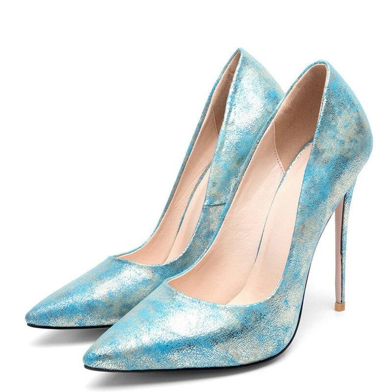 YECHNE Stiletto Women Golden Pumps Bridal Hooks High Heels Shoes Plus Size 43 Party Woman Shoes