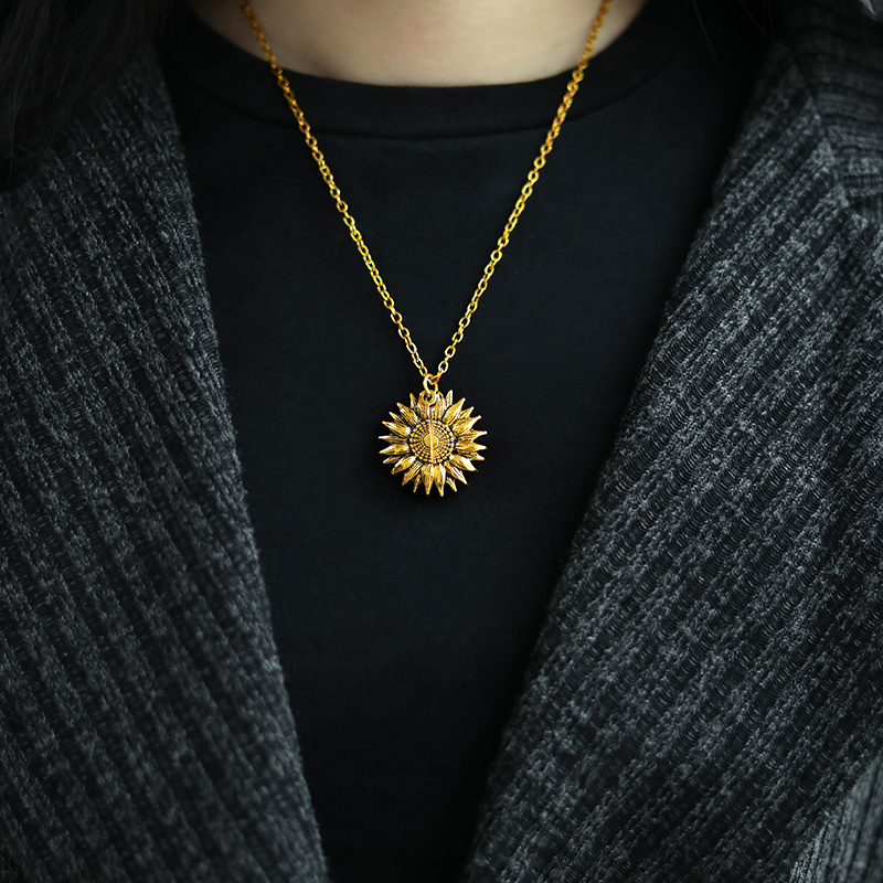 You Are My Sunshine Sunflower Necklaces For Women Rose Gold Silver Color Long Chain Sun Flower Female Pendant Necklace Jewelry 6