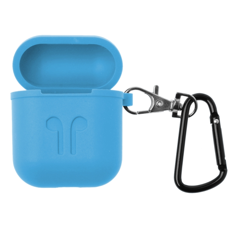 Silicone Anti-Lost Protective Case Cover Skin With Carabiner For Apple AirPods 634A
