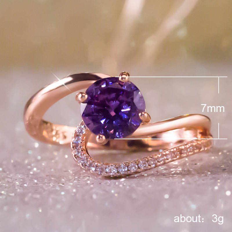 JYA แหวนผู้หญิง CZ สีม่วงคริสตัล Zircon แหวนค็อกเทล Bague Anillos Bijoux Femme เครื่องประดับใหม่แฟชั่น 2018