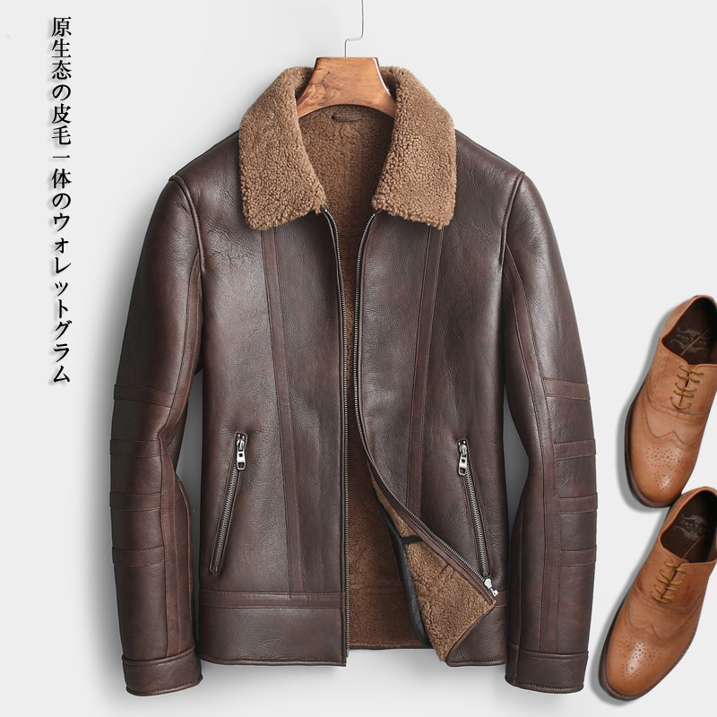 Short Genuine Leather Jacket Men Sheep Shearling Coat Luxury Mens Sheepskin Coat Wool Fur Jackets Man 2020 KJ1279