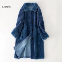 Зимнее женское меховое пальто из натурального овечьего меха, меховые пальто для женщин, утолщенная теплая шерстяная куртка из искусственной замши