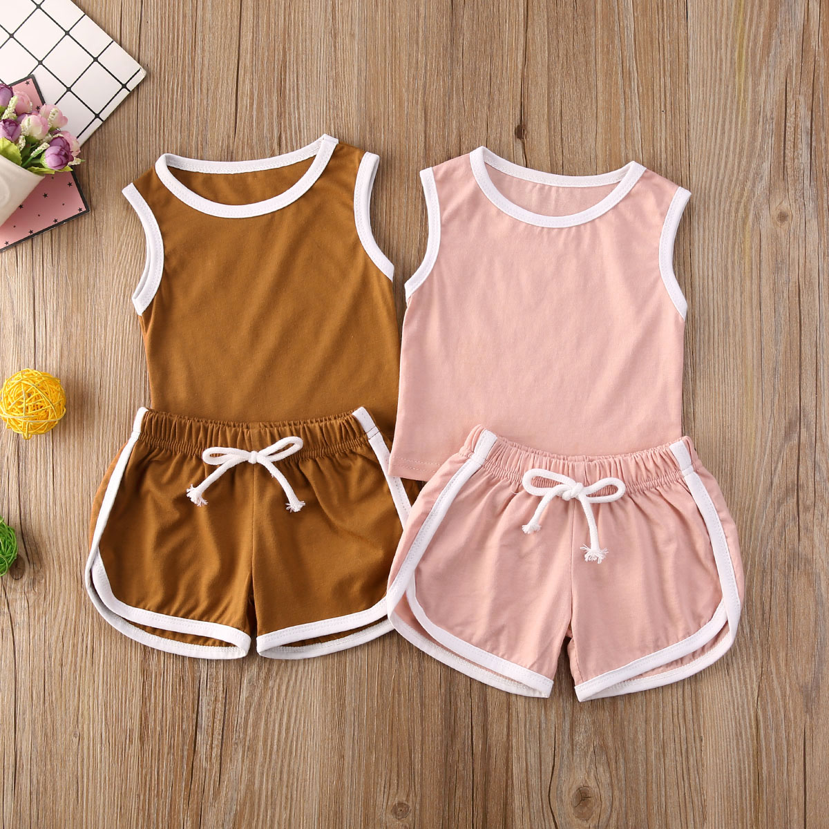 Hot Sale Summer Children Clothes Set Baby Boys Girls Casual Outfits Suit For Sport Sleeveless Top+Short Pants Summer Sunsuit