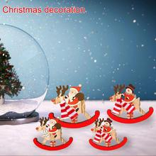 New High-quality Christmas Decorations Wooden Swing Trojan Santa Claus Gifts Widely Applicable Bright Colors Ornaments