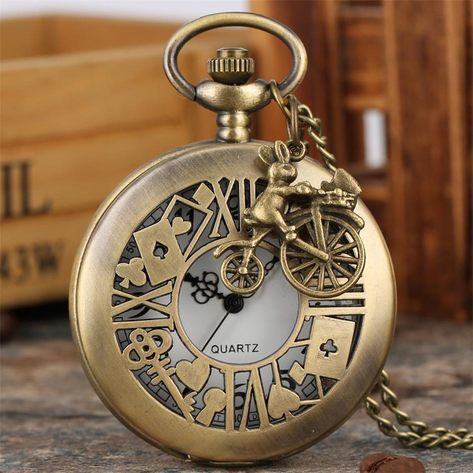 Alice In Wonderland Theme Rabbit Pendant Bronze Quartz Pocket Watch Arabic Numerals Display Antique Necklace Watch Xmas Gifts