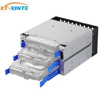 XT-XINTE 3-Bay Large Capacity HDD Hard Drive Cage Rack SAS SATA Hard Drive Disk Tray Caddy w SATA Cable for Computer Accessories