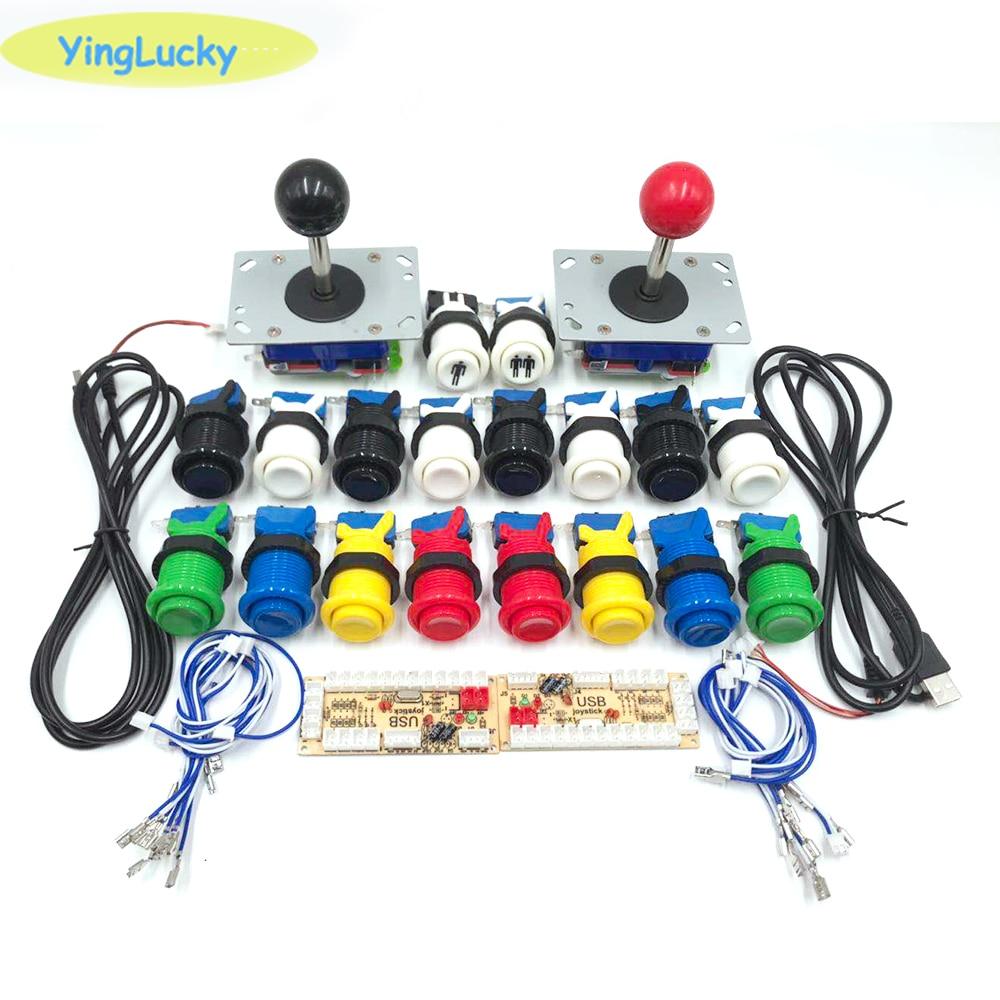 Free Shipping 2 Players Arcade Diy Kit + American Button + Zippy Joystick + Zero Delay Encode For Arcade Cabinet Raspberry Pi 4