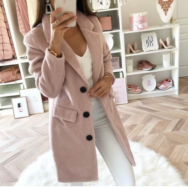 2020 Women's Solid Color Suit Lead Long Section Two Row Buckle Woolen Overcoat Woman Winter Casual Elegant Overcoat