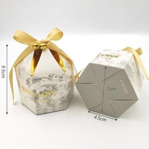 Image 4 - קופסות מתנת אריזת חתונה טובה שוקולד תיבת Bomboniera מתנות קופסות ספקי צד עם פעמוני & סרטי נייר שקיות