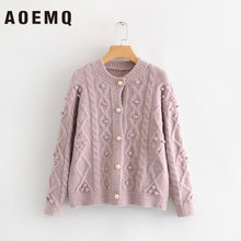 AOEMQ Casual Sweaters Cardigan Open Stitch Winter Sweaters with Fluff Ball Decoration Thick Warm Sweater Women Clothing(China)