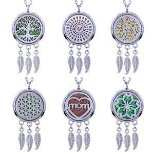 Aroma Open Feather Fragrance Locket Pendant Perfume Essential Oil Aromatherapy Diffuser Necklace Locket Necklace With Pad(China)