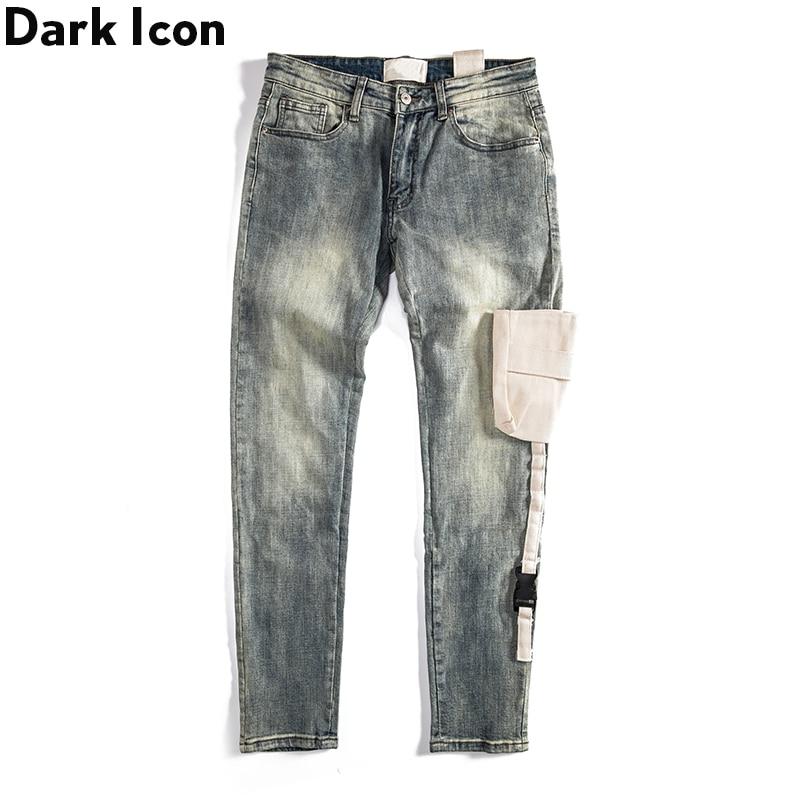 Dark Icon Stero Pocket Denim Pants Vintage Jeans Men High Street Men's Pants