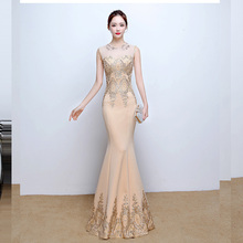 Evening Dress O-neck Sleeveless Robe De Soiree Floor Length Sequin Women Party Dresses Pearls Elegant Gowns 2019 F200