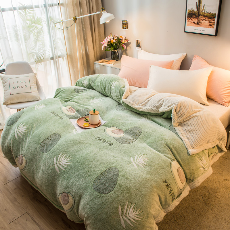 Pineapple Avocado Pattern Super Soft Raschel Blanket Thick Coral Fleece Shaggy Fur Plush Double Side Warm Blankets For Bed