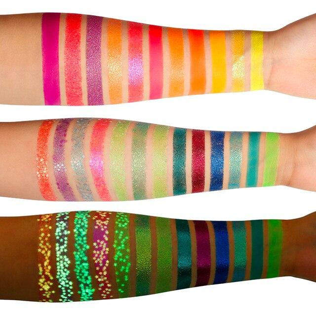 DE'LANCI Aurora Glow Eyeshadow Stage Clubbing Neon Makeup Kit in Blacklight UV Glow in the Dark Fluorescent Eye Shadows 2