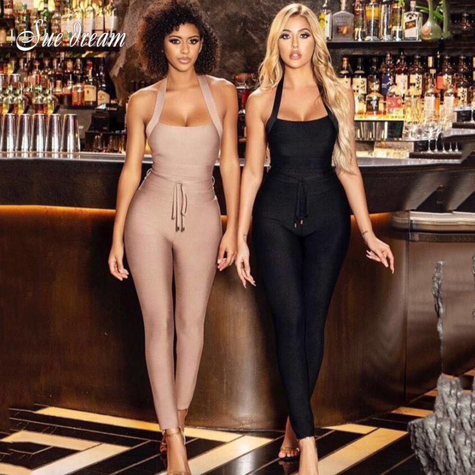 2020 Summer New Women'S Sexy Halter Backless Bandage Jumpsuit Black Apricot Bodycon Club Party Jumpsuit
