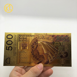 HOT 1pc Unissued 1994 Edition Poland Currency designed colored 24K gold plated Bill Banknote 500 PLN for Bank souvenir gifts