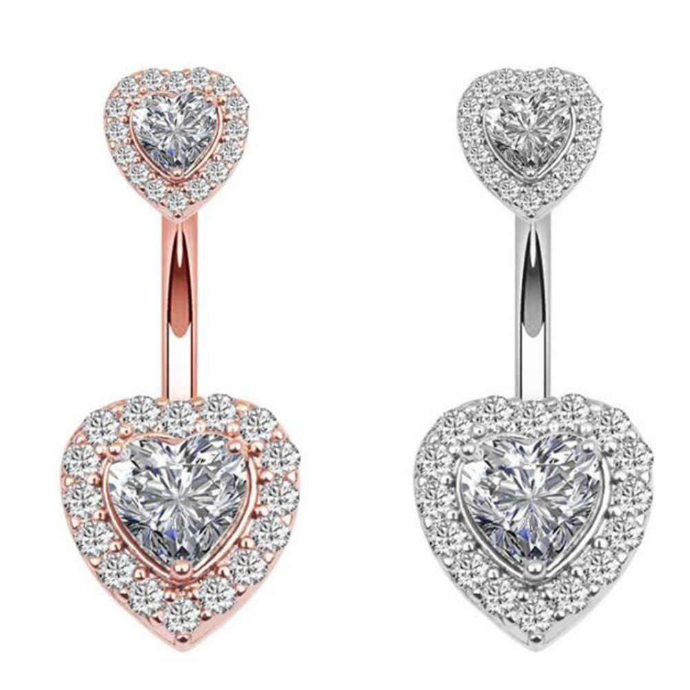 1PC stali nierdzewnej brzucha guzika pierścionki kryształ Piercing pępka w stylu serca pępka Piercing kolczyk brzucha Piercing seksowna biżuteria do ciała