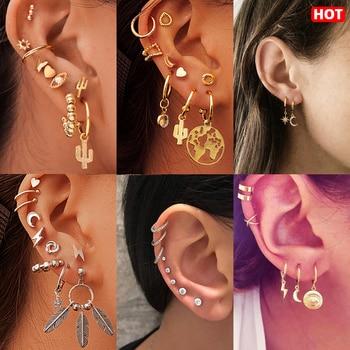 17KM Bohemian Gold Metal Drop Dangle Earrings Set For Women 2019 Geometric Eyes Moon Star Feather Female Earring Vintage Jewelry