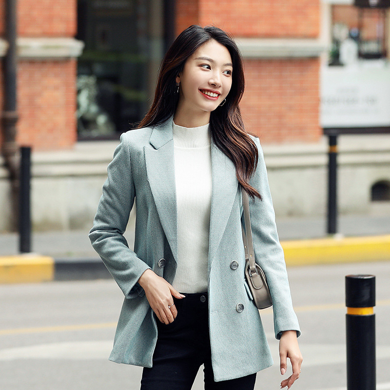 Autumn And Winter Fashion Temperament Women's Blazer Casual Double-breasted Slim Long-sleeved Ladies Jacket Large Size S-4XL