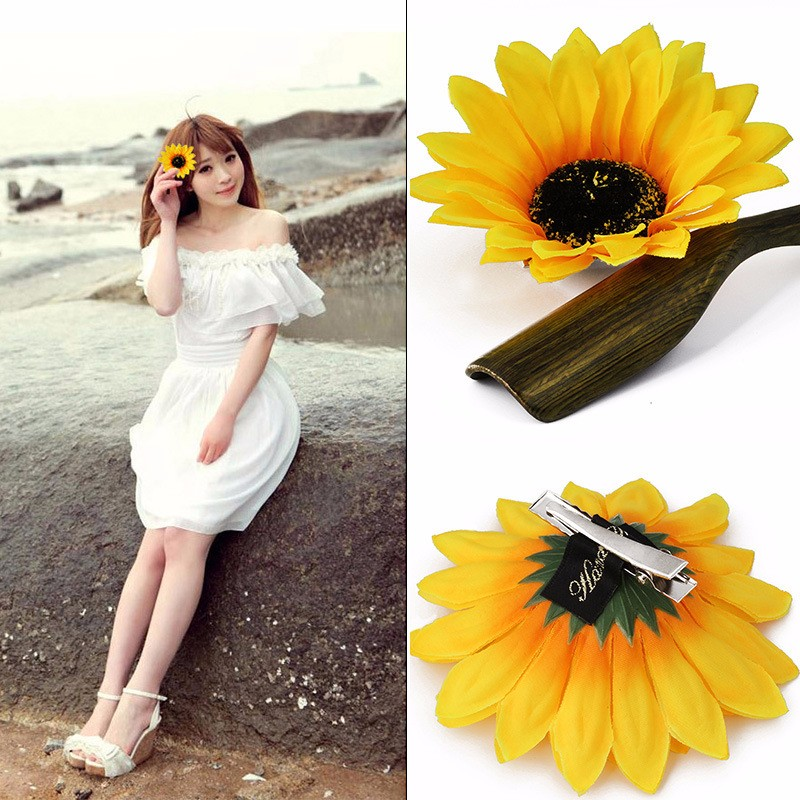New Arrival Sweet Sunflower Hair Clip Women Girls Seaside Barrettes Headwear Hairpins for Holiday Hair Claw Accessories Dropship