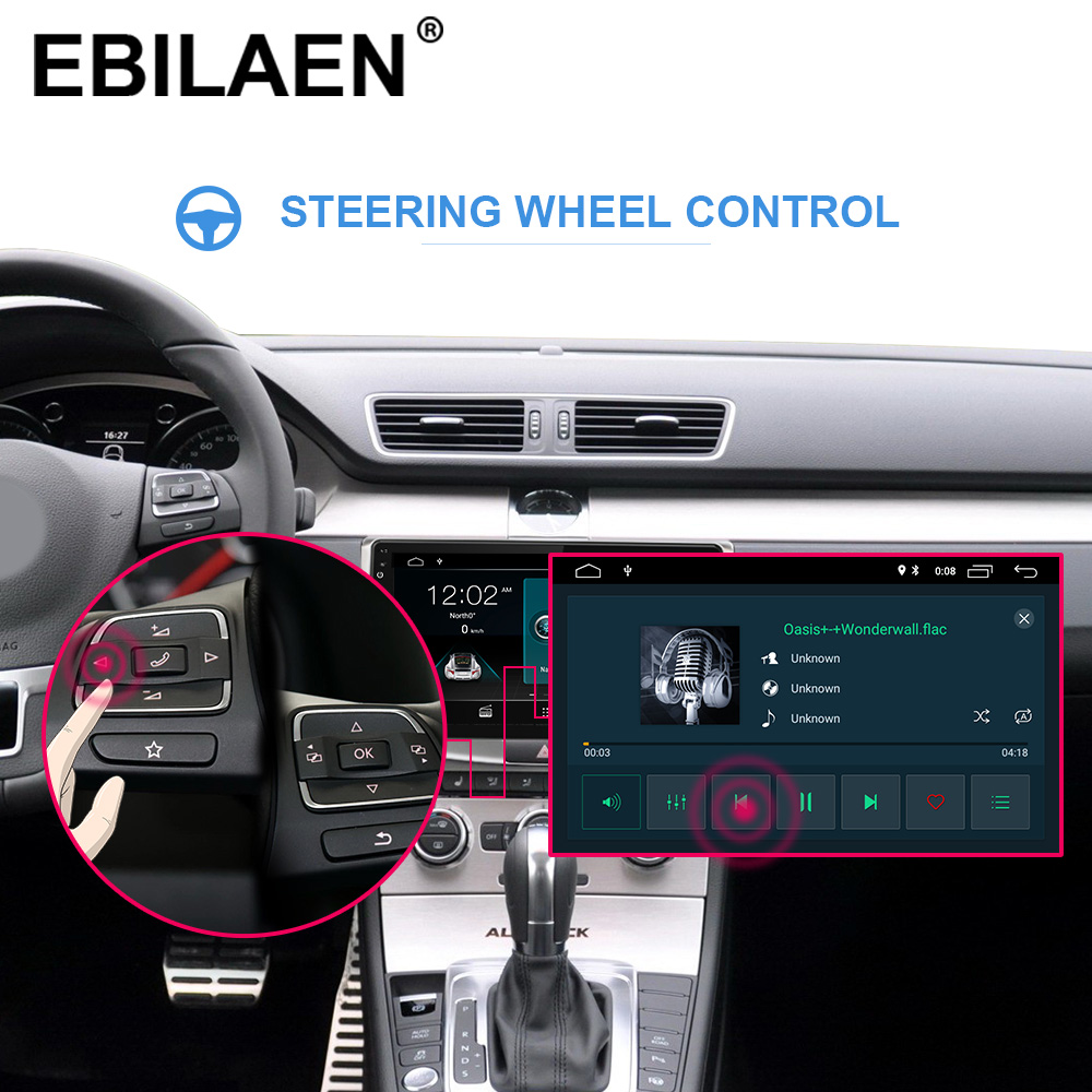 EBILAEN Car Radio Multimedia Player For VW Volkswagen Passat B7 B6/Magotan 2Din Android 9.0 Autoradio GPS Navigation DVR Camera - 3