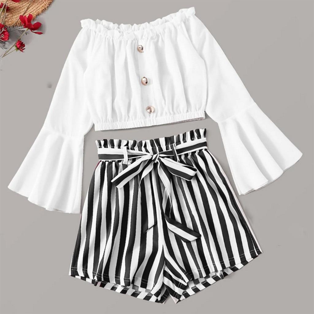 Autumn Fashion Tracksuit Women Sexy Slash-Neck Long Sleeve Shirt Tops Blouse Striped Short Pants 2PCS Set Free Ship Z4