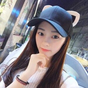 Image 2 - Casquette de baseball pour femmes et filles en pur coton, chapeau équestre, chapeau pour femme, nouvelle collection doreilles de chats