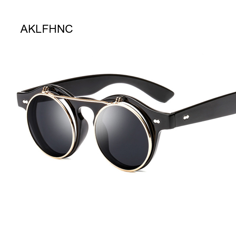 Steampunk Sunglasses Women Men Retro Goggles Round Flip Up Sun Glasses Female Steam Punk Vintage Fashion Eyewear Oculos De Sol Мужские солнцезащитные очки      АлиЭкспресс
