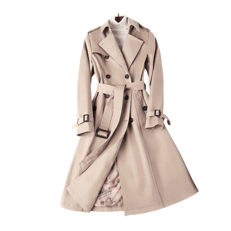 Fashion Long   Trench   Coat Ladies clothes 2019 Spring Autumn Double Breasted Plus size Slim Womens windbreakers Casual Overcoat
