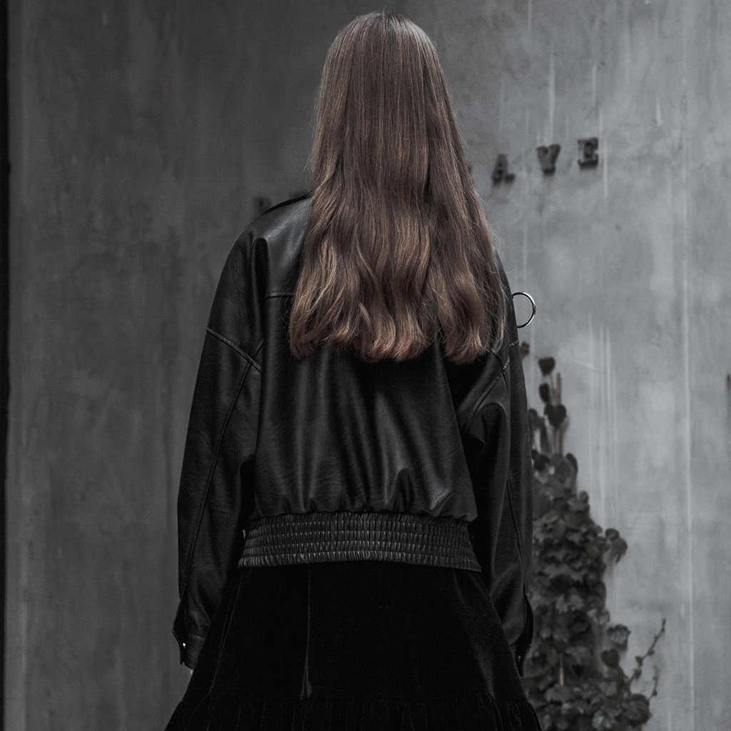 פאנק רווה נשים פאנק קצר מתכת שרשרת דקורטיבי רופף PU מעיל מחוספס שטף עור אסימטרית צווארון נאה מעיל