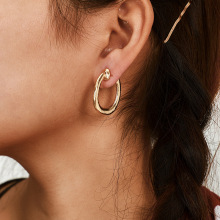 цена на Solid Gold Earrings without Piercing Geometric Round Ear Cuff Minimalist Cartilage Earrings for Women Simple Jewelry