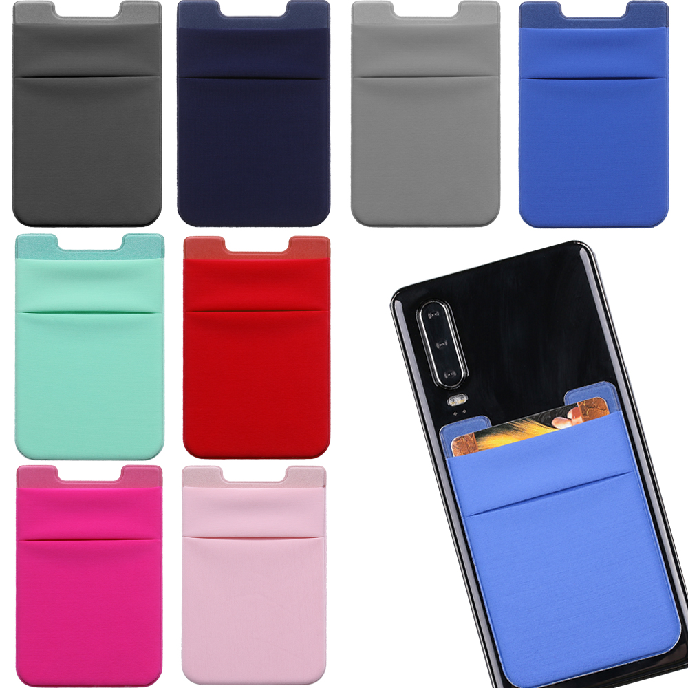 New 1PC Unisex Fashion Elastic Mobile Phone Wallet Cell Phone Holder Case Lycra Adhesive Sticker Pocket Credit ID Card Holder