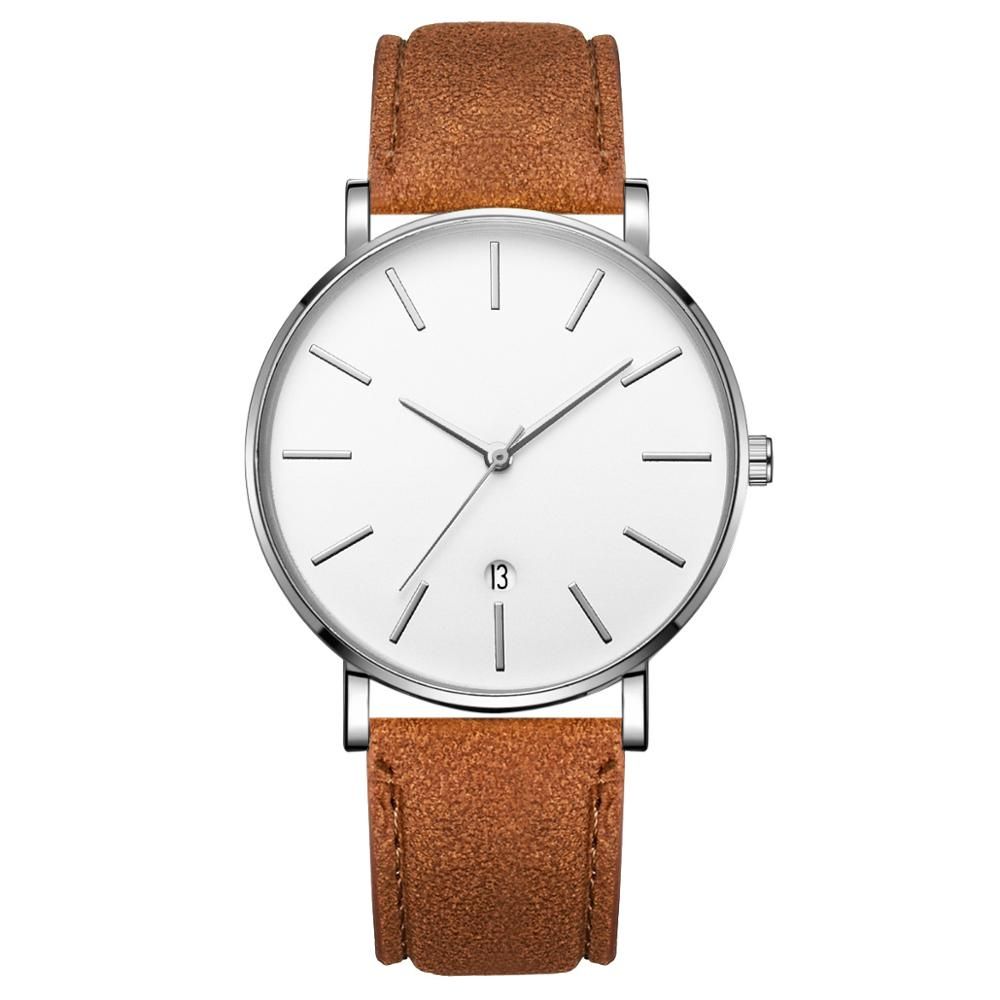 Simple Men Watch Luxury Brand Men Quartz PU Leather Watch Business Wrist Watch Male Clock Reloj Hombre Masculino C068