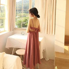 Spring and summer new style New seaside holiday sexy dress Leaky back beach Slim strap