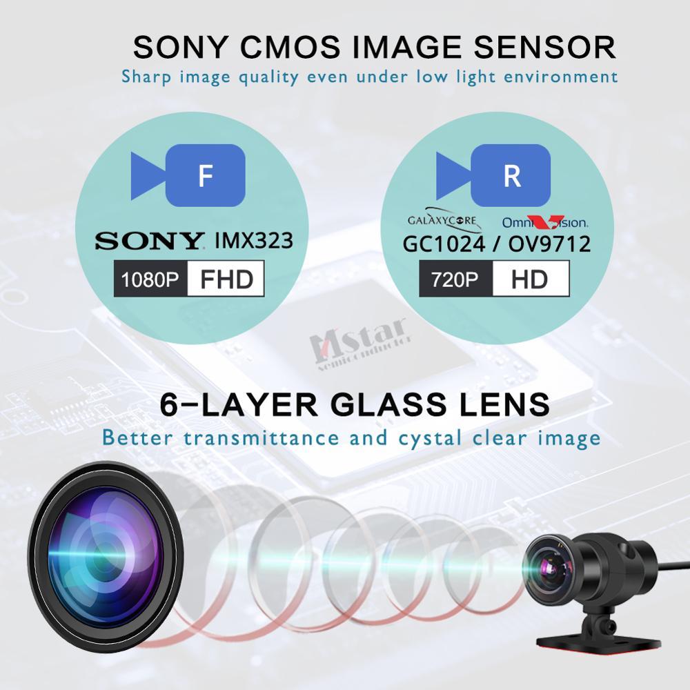 SYS VSYS M6L P6L WiFi Motocicleta DVR Traço Cam Full HD 1080 P + 720 P Frente Retrovisor À Prova D' Água motocicleta Câmera Black Box Recorder - 5