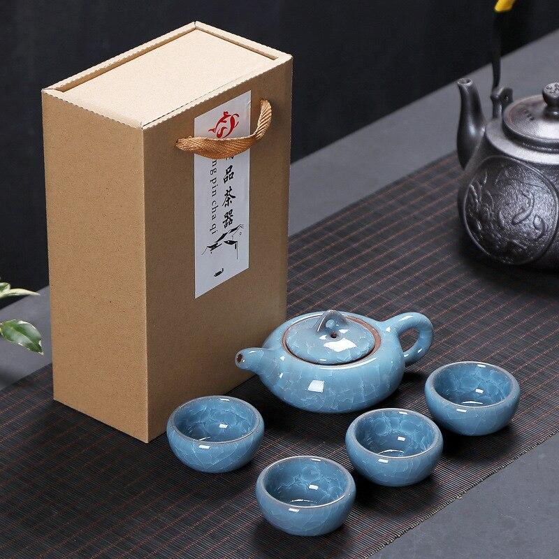 Chinese Travel Kung Fu 5pcs Tea Sets Ceramic Portable Porcelain Service Gaiwan Tea Cups Tea Ceremony Teapot Gift Box