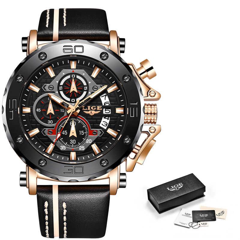 2020LIGE nuevo reloj de moda para hombres, marca de lujo militar de gran reloj de cuarzo, reloj cronógrafo deportivo de cuero resistente al agua para hombres