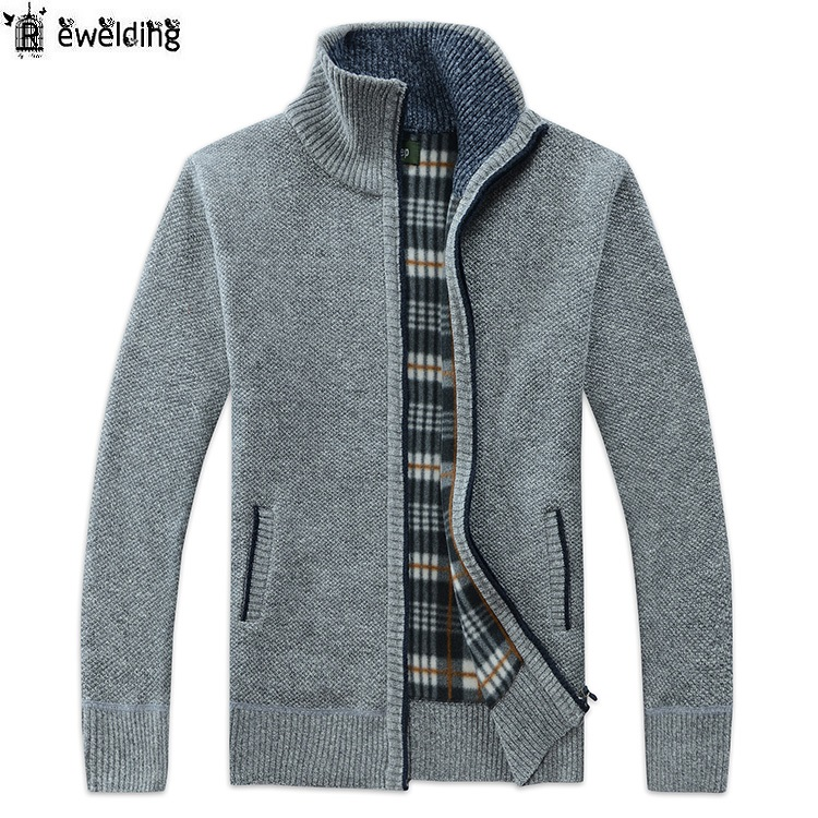 Men's Casual Sweater Coats Autumn Winter Fashion Brand Mens Cardigan Jacket High Collar Pockets Knit Outwear Coat Sweater Male