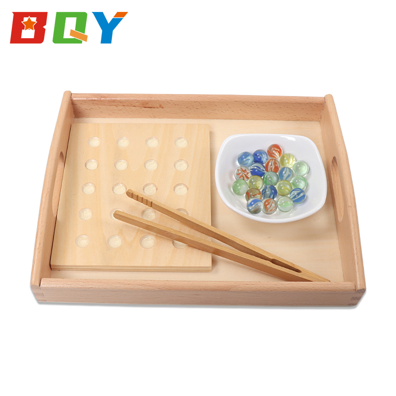 BQY Toddlers Montessori Egg Clip Marbles Games Montessori Materials Wooden Toys Daily Basical Practical Teaching Kids