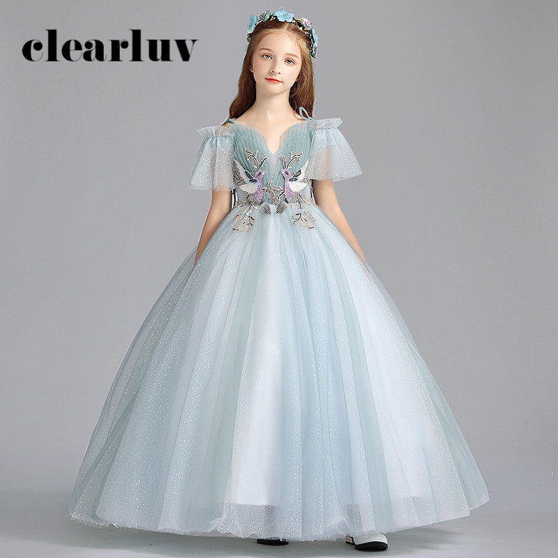 Flower Girl Dresses For Weddings B076 Sweeetheart Floor Length Girls Princess Dresses New Spaghetti Straps Tulle Girls Ball Gown